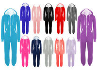 PLUS SIZE UNISEX PLAIN ONE PIECE HOODED ALL IN ONE ZIP ONESIE HOODIE JUMPSUIT