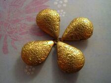Raw Brass Teardrop Lockets (4) - P076 Jewelry Finding