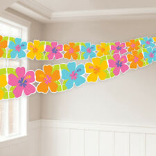 Hawaiian Hibiscus Paper Garland Banner Bunting Tropical Flower Party Decoration