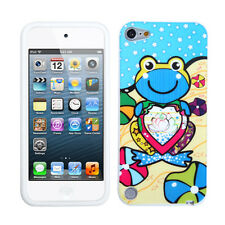 iPod Touch 5th / 6th Gen - Baby Blue Flower Frog Soft Silicone Rubber Skin Case