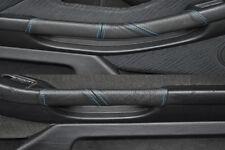 Fits bmw e39 © 1995-2003 bleu coutures 2x poignée de porte couvre cuir noir