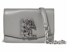 Karl Lagerfeld Gray Anthracite Leather silver chain strap shoulder bag