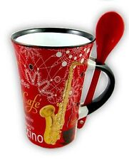 RED SAXOPHONE Cappuccino Mug & Spoon Sax Player Coffee Cup Present Music Gift