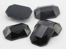 25x18mm Jet Black A11 Flat Back Octagon Acrylic Gemstones - 15 PCS