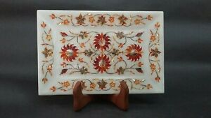 9 x 6 Inches Marble Decorative Tray with Pietra Dura Art Serving Tray for Office