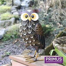 Primus Brown Woodland Owl - Metal Garden Patio Animal Ornament 36cm high