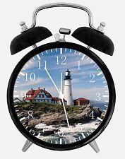 """Light House Alarm Desk Clock 3.75"""" Home or Office Decor E107 Nice For Gift"""