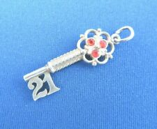VINTAGE 925 STERLING SILVER CHARM RED GEMSET 21st BIRTHDAY KEY