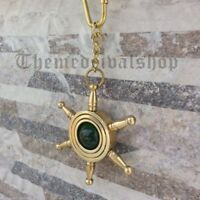 BRASS CAPTAINS NAUTICAL SHIP WHEEL KEY CHAIN COLLECTIBLE POCKET KEY RING GIFT