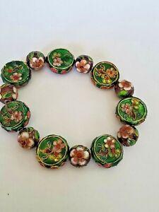 Vintage Cloisonné Green Stretchable Bracelet