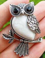White Turquoise stone Owl Pendant bead Energy Reiki Healing Amulet