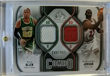 2009-10 UD COMBO MATERIALS Ray Allen Michael Jordan GAME USED JERSEY #'d /499