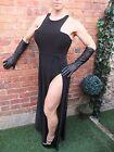 GORGEOUS BOOHOO NIGHT BLACK HIGH LEG BODYCON STRETCH COCKTAIL PARTY DRESS ~ UK 8