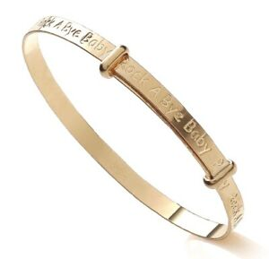 Solid 9ct Gold Rock A Bye Baby Expanding Baby Bangle -  NEW - Gift Boxed