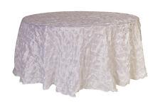 YCC - 120 inch Pinwheel Pinched Taffeta Round Tablecloth White