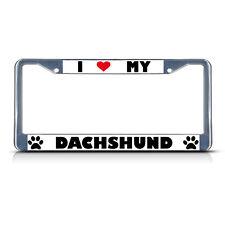 Dachshund Paw Love Heart Pet Dog Chrome Heavy Duty Metal License Plate Frame