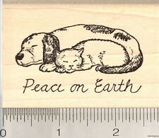 Dog and Cat Peace on Earth Rubber Stamp, Christmas Holiday  J5311 WM