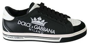 DOLCE & GABBANA Shoes Sneakers White Black Leather Crown Mens s. EU39 / US6