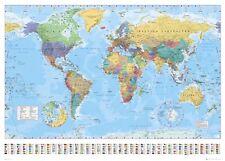 World Political Polar Caps Map - Professionally LAMINATED Maxi 36 x 24 Poster