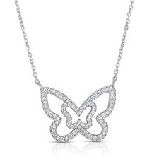 Sterling Silver Butterfly Pendant with CZ and Adjustable Chain - 16''-18''