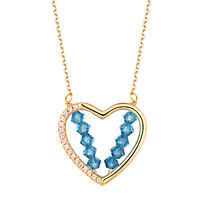 Yellow Gold Heart Pendant Chain Necklace 925 Sterling Silver White Cz Blue Beads