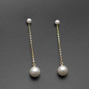 925 Sterling Silver Simple Pearl Tassel Earrings