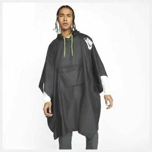 NIKE Mens Woven Poncho Black - One Size RRP £55 Raincover Case Bag WATERPROOF