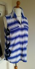 Next Blue And White Striped Sheer  Sleeveless Top With Floral Pattern - Size 14