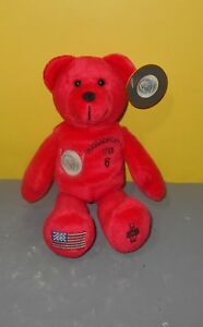 Timeless Toys Collectible Bean Plush Quarter Bear State of Massachusetts w/ Tag