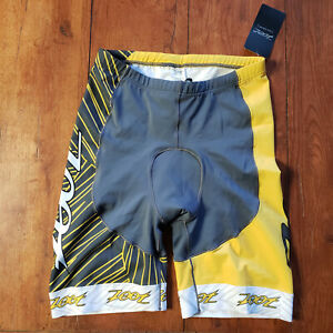 "ZOOT Mens XL Tri Shorts 8"" Grey Yellow Team Padded Swim Cycling Run Triathlon"