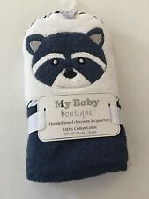 My Baby Boutique Boys Raccoon Hooded Towel Terry Cotton Layette Navy Blue Gift
