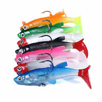 5PCS/Pack Soft Rubber Ice Fishing Lure 7.5cm/12.5g Fish Bait Bass Paddle Tail