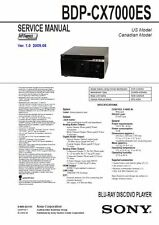 Sony BDP CX7000ES Multi Disc Blu Ray Player service manual and repair guide