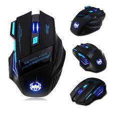 Zelotes Computer Gaming Funkmaus 2400 DPI 7 Button LED Optisch Wireless USB Maus