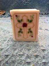 NOS AVON PORCELAIN RED ROSE/CROSS TRINKET BOX