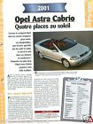 Opel Astra Cabrio 4 Cyl. 2001 Germany GM USA Car Auto Voiture FICHE FRANCE