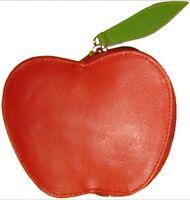kulturvolle Leder Geldbörse Apfel Rot/ Grün - Apple Geldbeutel Portemonnaie Etui