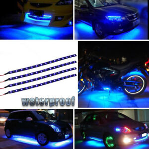 "4x 12"" Boat Bow Navigation Car Moto LED Light Submersible Marine Strip Blue 12V"