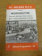20/04/1974 programma Rugby League: ST. Helens V workington Campionato []