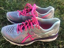 Women's Asics Kayano 23 Gray Pink Light Green Running Shoes Size 8