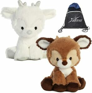 "Aurora 8"" Reindeer Stuffed Animal Duo: Dashing Brown and Sterling Silver"