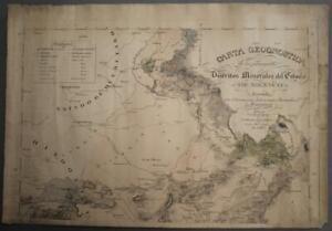 MEXICO 1827 GEROLT AGENTE & BERGHES ANTIQUE ORIGINAL LITHOGRAPHIC GEOLOGICAL MAP