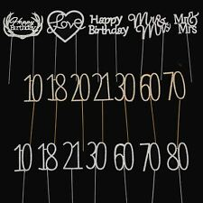 Premium Metal Diamante Number Cake Toppers - Milestone Birthday Cupcake Crystal