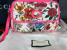 GUCCI 550147 Women's Flora Canvas and Pink Leather Handbag