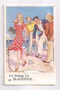 Lancs Blackpool Lady Harold Beard Artist 12 View Pullout  Novelty 1950 Postcard