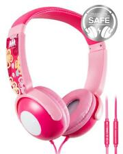 Mumba Kids Over Ear Wired Headphones Headband Girl Earphones Volume Limited Pink
