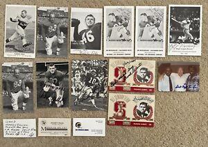 Lot of 12 Signed Football Photos, Postcards, Etc   Peaks, Doran, Night Train