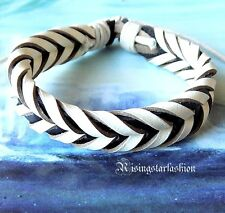 Men Black and White Classic Woven Biker Surfer Hip Leather Bracelet Wristband