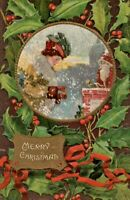 Antique Christmas Postcard Fancy Lady Giving Coins Santa Bell Ringing Rotograph
