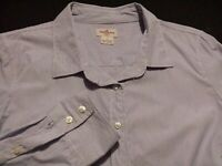 J. Crew Womens Large Long Sleeve Button-Down 100% Cotton Blue Striped Shirt